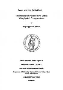 [Individuality and Love in Plato]