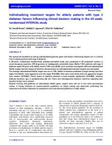 Individualizing treatment targets for elderly patients with type 2 ...