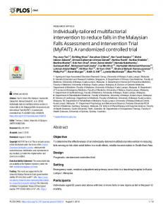 Individually-tailored multifactorial intervention to reduce falls in ... - PLOS