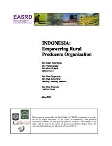 INDONESIA: Empowering Rural Producers ... - World Bank Group