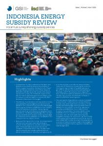Indonesia Energy Subsidy Review. Issue 1. Volume 2.