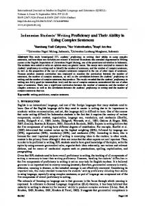Indonesian Students' Writing Proficiency and Their ... - ARC Journals