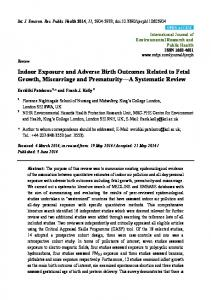 Indoor Exposure and Adverse Birth Outcomes Related to Fetal - MDPI