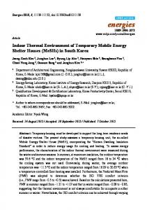 Indoor Thermal Environment of Temporary Mobile Energy ... - MDPI