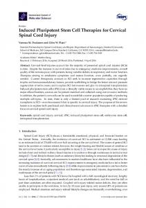 Induced Pluripotent Stem Cell Therapies for Cervical Spinal Cord Injury