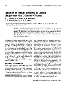 Induction of immune response to plasma lipoproteins ... - Springer Link