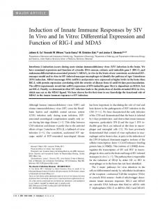 Induction of Innate Immune Responses by SIV In ... - Semantic Scholar