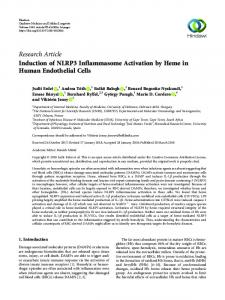 Induction of NLRP3 Inflammasome Activation by Heme in Human