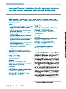 Induction of Secondary Metabolites from the Marine