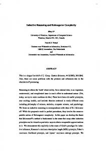 Inductive Reasoning and Kolmogorov Complexity