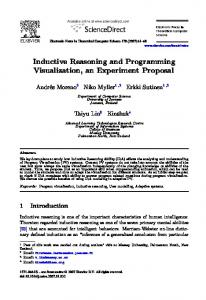 Inductive Reasoning and Programming Visualization, an Experiment ...