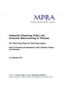 Industrial Clustering Policy and Economic Restructuring in Vietnam