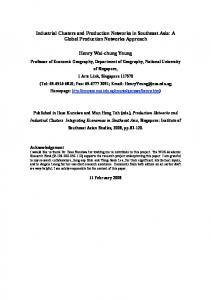 Industrial Clusters and Production Networks in Southeast ... - NUS Home