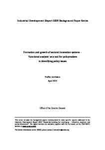 Industrial Development Report 2005 Background Paper ... - CiteSeerX