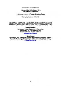 industrial districts and globalisation: learning and ... - Semantic Scholar