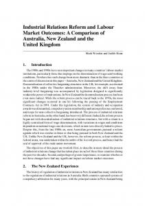 Industrial Relations Reform and Labour Market Outcomes: A ...