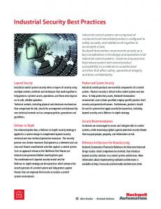 Industrial Security Best Practices - Rockwell Automation