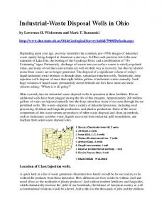 Industrial-Waste Disposal Wells in Ohio - Look Before You Lease