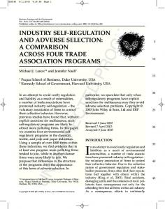 industry self-regulation and adverse selection - Yieldopedia.com