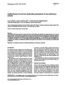 Ineffectiveness of oral iron hydroxide polymaltose in iron-deficiency ...