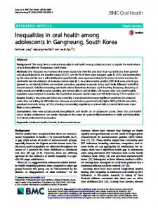 Inequalities in oral health among adolescents in ... - BMC Oral Health