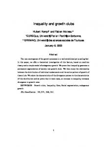 Inequality and growth clubs - CiteSeerX