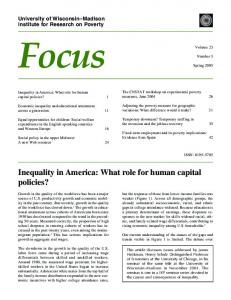 Inequality in America: What role for human capital policies?