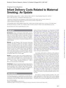 Infant Delivery Costs Related to Maternal Smoking