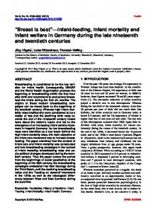 Infant-feeding, infant mortality and infant welfare in Germany during ...