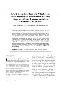 Infant Sleep Disorders and Attachment - CiteSeerX