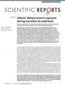 Infants' dietary arsenic exposure during transition to