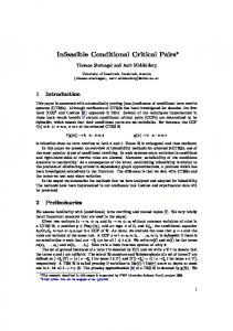 Infeasible Conditional Critical Pairs - Computational Logic
