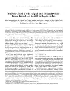 Infection Control in Field Hospitals after a Natural Disaster: Lessons ...