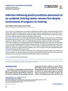 Infection following penile prosthesis placement ... - KoreaMed Synapse