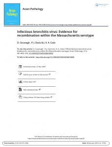 Infectious bronchitis virus: Evidence for ...