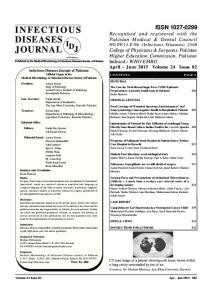 infectious diseases journal - Infectious Diseases Society of Pakistan
