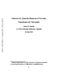 Inference for Quantile Measures of Kurtosis, Peakedness and Tail ...