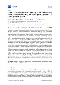 Infilling Missing Data in Hydrology: Solutions Using Satellite ... - MDPI