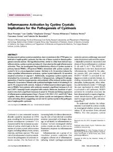 Inflammasome Activation by Cystine Crystals