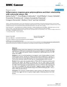 Inflammatory response gene polymorphisms and their relationship ...
