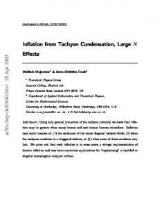 Inflation from Tachyon Condensation, Large N Effects