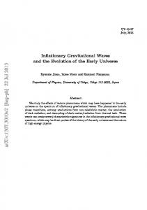 Inflationary Gravitational Waves and the Evolution of the Early Universe