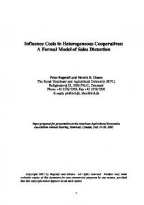 Influence Costs in Heterogeneous Cooperatives: A ... - AgEcon Search