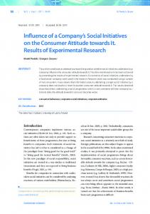 Influence of a Company's Social Initiatives on the Consumer Attitude ...
