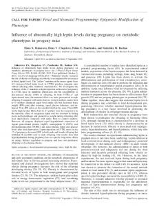 Influence of abnormally high leptin levels during pregnancy on ...