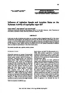 Influence of Agitation Speeds and Aeration Rates on the ... - Scielo.br