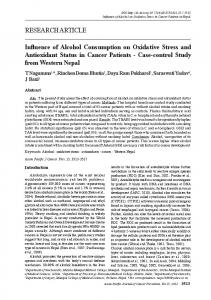 Influence of Alcohol Consumption on Oxidative Stress and Antioxidant