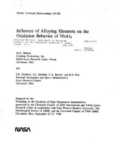 Influence of Alloying Elements on the Oxidation ... - NTRS - NASA