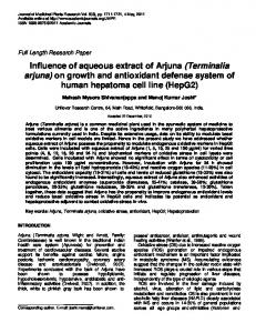 Influence of aqueous extract of Arjuna (Terminalia arjuna) on growth ...