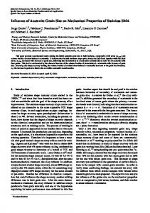 Influence of Austenite Grain Size on Mechanical Properties of ...